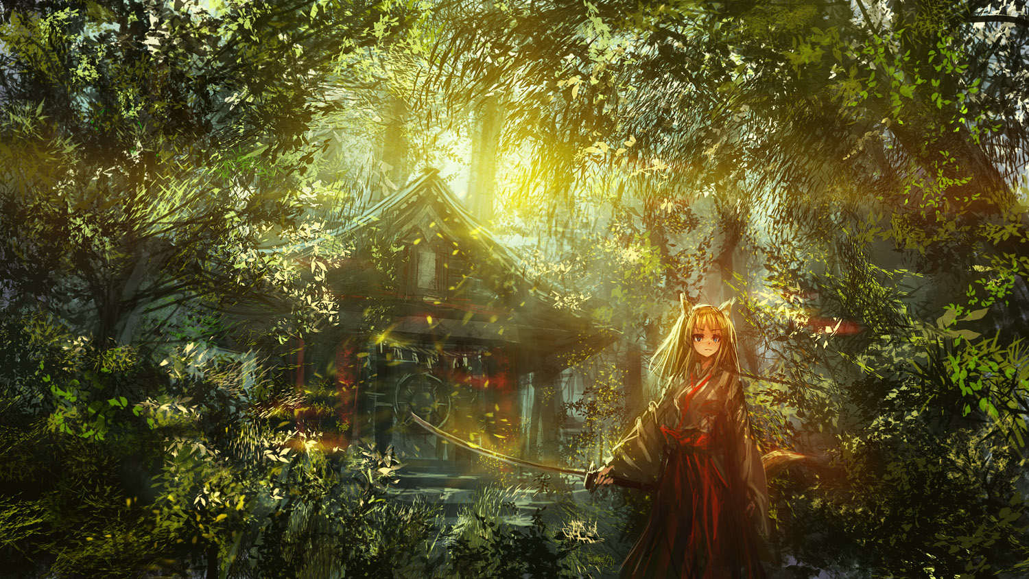 anime girl in garden