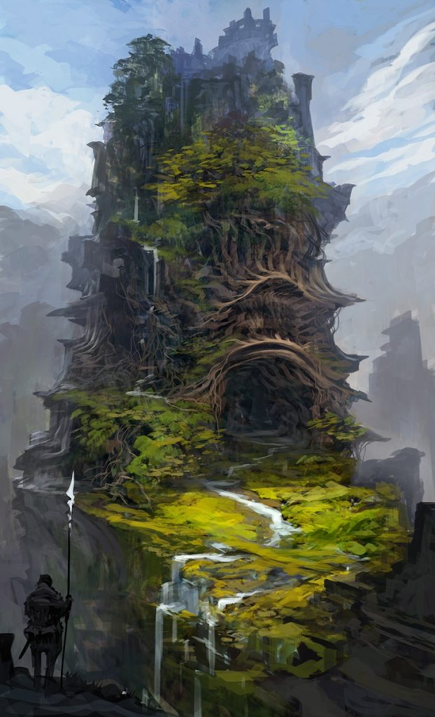 mountain city concept art